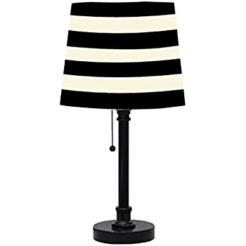 Beau Urban Shop Black And White Striped Table Lamp