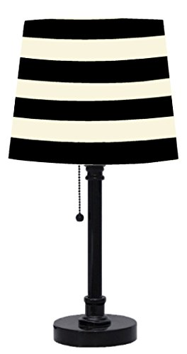 black white striped table lamp