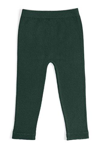 EMEM Apparel Unisex Boys Girls Baby Toddler Medium Weight Seamless Cotton Full Ankle Length Leggings Hunter Green 2T-4T -