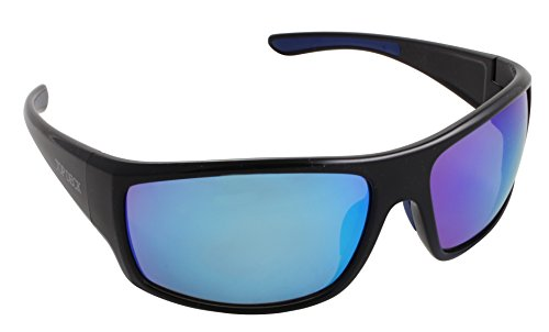 - Top Deck Commodore Polarized Sunglasses, Black Frame, Blue Mirror Lens