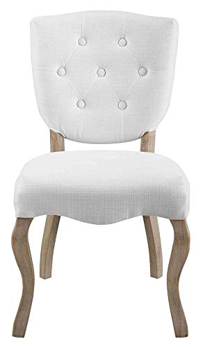 Modway EEI-2878-WHI Vintage French Upholstered Dining Side Chair, Fully Assembled White Fabric