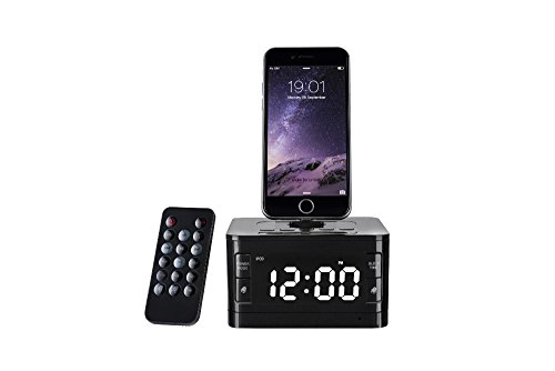 Charger Dock Station Fm Radio Alarm Clock Portable Audio Music Wireless Bluetooth Speaker for iPhone 7 7 Plus 5 6 6s SE Black