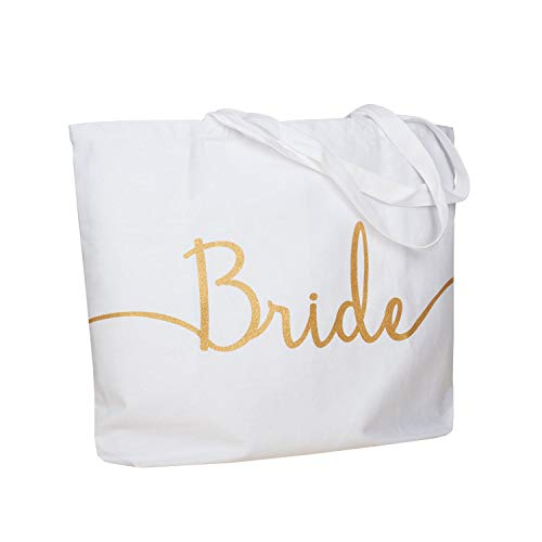 (ElegantPark Bride Jumbo Tote Bag Wedding Bridal Shower Gifts Canvas 100% Cotton Interior Pocket White with Gold Glitter)