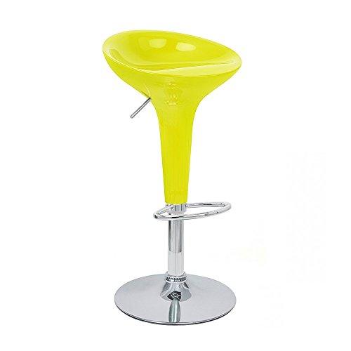 Set of 2 Alpha Contemporary Bombo Style Adjustable Barstool - Banana Yellow (Stool Banana)