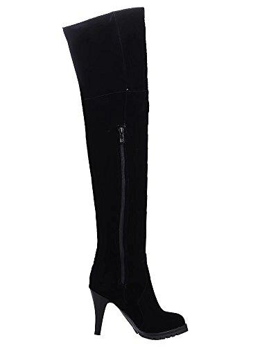 Aiyoumei Mujeres Side Zipper Thin Heel Botas A La Rodilla De Otoño Invierno Con Cordones Black