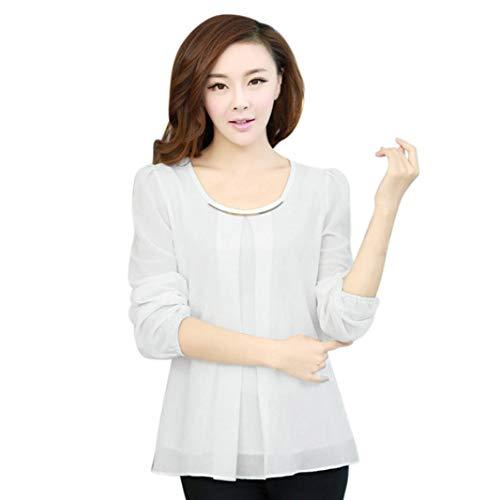 Kulywon Women Sequin Chiffon Long Sleeve Solid O-Neck Cuff Blouse T Shirt Tops ()