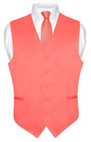 Men's Dress Vest & NeckTie Solid CORAL PINK Color Neck Tie Set (Vest Color)