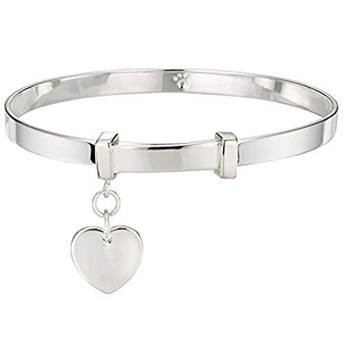 - Molly B London | 925 Sterling Silver Baby's Love Heart Baptism Bangle