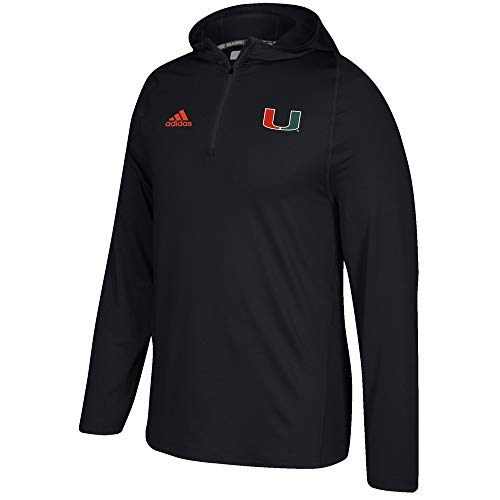 adidas Miami Hurricanes NCAA Men's Black Sideline 1/4 Zip Training Hoodie