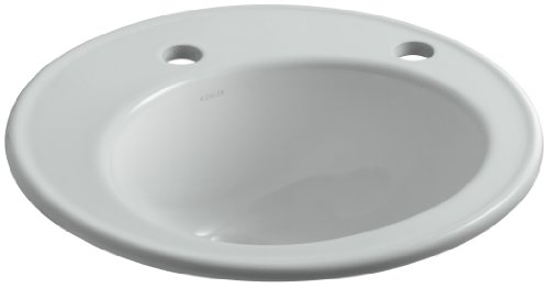 Brookline Self-Rimming Bathroom Sink with Single-Hole Faucet Drilling and Right-Hand Soap/Lotion Dispenser Hole Drilling, Ice Grey ()