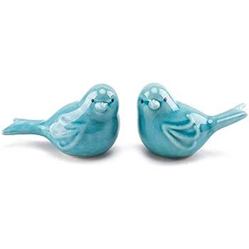 FairDeco Set of 2 Ceramic Bird Figurine Home Decor Accents Aqua Blue