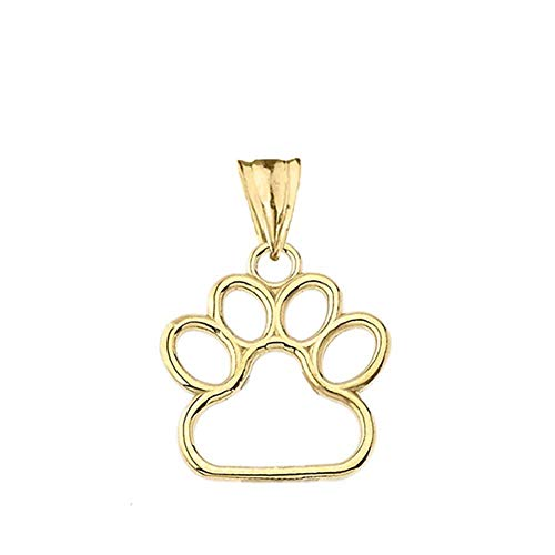 (Dainty 10k Yellow Gold Dog Paw Print Outline Charm Pendant (Small))