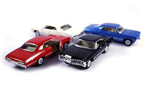 HCK Set of 4 1967 Chevy Impala - Pull Back Toy Cars 1:43 Scale (Black, Blue, Red, White)