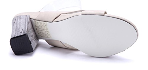 Schuhtempel24 Damen Schuhe Sandaletten Sandalen Blockabsatz 8 cm Beige