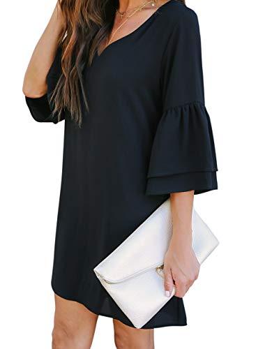 BELONGSCI Women's Dress Sweet & Cute V-Neck Bell Sleeve Shift Dress Mini Dress 4