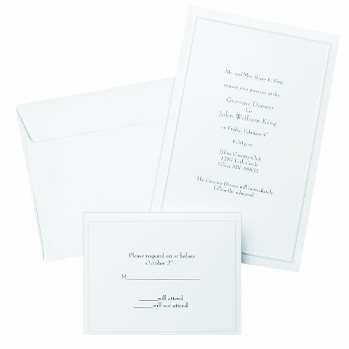 Gartner Studios GAR61001 Border Wedding Invitation Kit, Pearl White, 50-Count (61001)