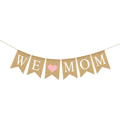 Amosfun We Love Mom Banner Mother's Day Burlap Banner with Pink Heart Vintage Linen Mother's Day Banner Decor Pull Flag Party Supplies