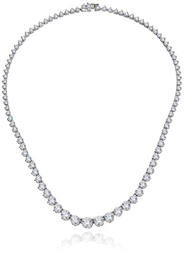 - Platinum Plated Sterling Silver Riviera Necklace set with Graduated Round Cut Swarovski Zirconia (20.75 cttw), 17