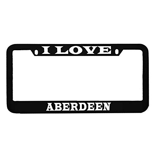 (AllCustom4U I Love Aberdeen Black License Plate Frame, Funny Humor Stainless Steel Auto Car Tag Frame, License Plate Tag Cover Holder, 2 Holes with Screw Caps)