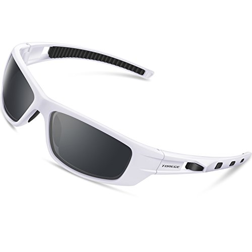 TOREGE Polarized Sports Sunglasses for Man Women Cycling Running Fishing Golf TR90 Unbreakable Frame TR040 (White&Black&Gray Lens)