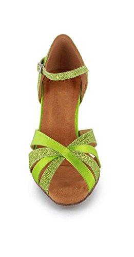 Shoes Latin Minitoo out Stylish Cut Green Dance Satin Women's Comfortable Satin Sandals c1YOx8qw4O