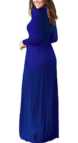 Blue Pocket Dress Sleeve Jaycargogo Long Long Womens with Crewneck Maxi w6R46Bqx