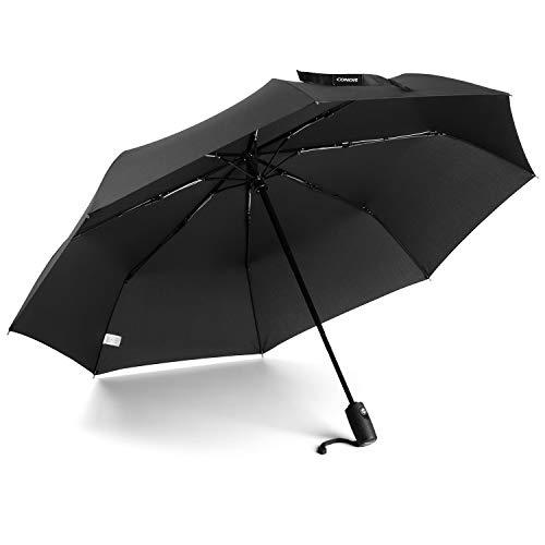 (Conor Compact Travel Umbrella with Teflon Coating Auto Open/Close Button for Women Student, Folding Umbrella)