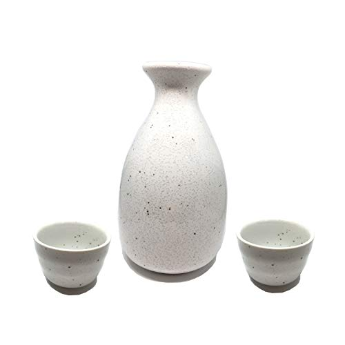 - Japanese sake set 3 piece set,white sake bottle