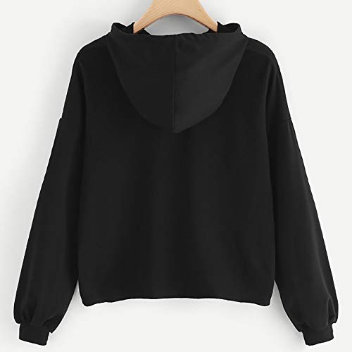 Patchwork Manica Felpa Lunga Lunghe Top Donna Maniche Cartoon Tumblr Donna Nero Manica Giacca Autunno Cappotto Felpe MEIBax out Lunga Cut con Stampa qUPRnREWz7