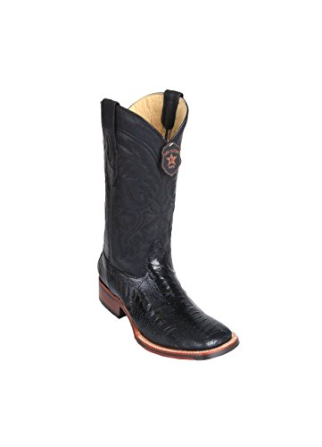 Ostrich Wide Leather Skin Boots Black Western Los Men's Genuine Toe Altos Square Leg 0qZgqA