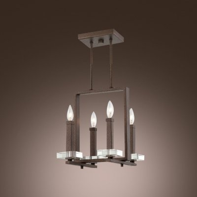 hua Sophisticate Design Four Light Island Light Features Square Crystal Plate and Brown Finish - Sophisticate Design