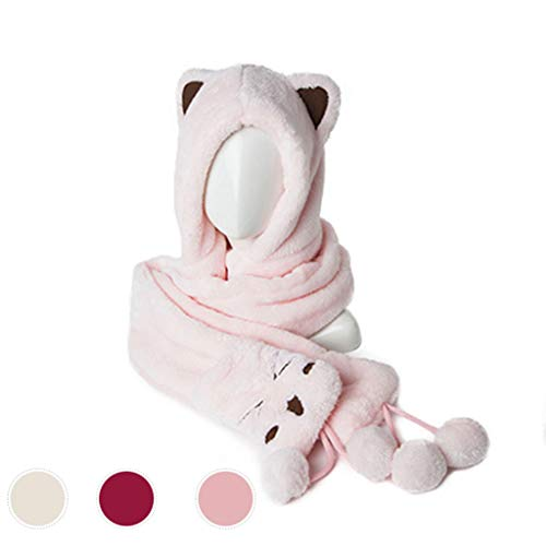ZXC Woman Autumn Winter One-Piece Gloves,Scarves,Hats Coral Fleece Keep Warm Double Layer Thicken Parent-Child Cute,Pink(A)