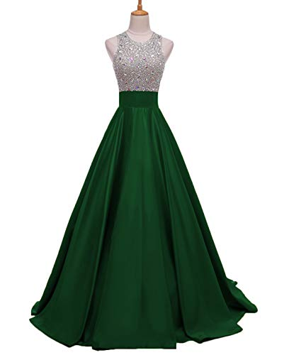 Scarisee Women's A-line Round Neck Beaded Prom Dresses with Pockets Formal Evening Party Gown Open Back Green 18W