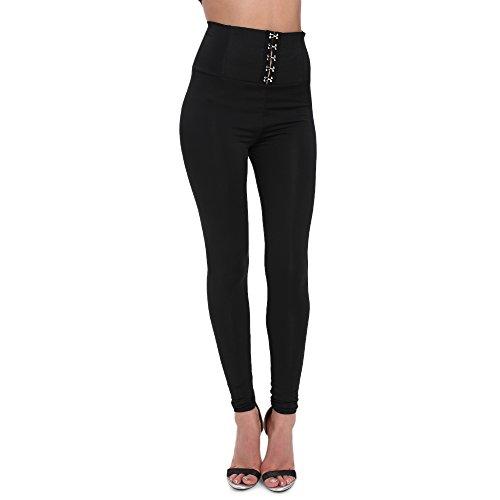 Lunghi Alta A Elegante 2018 Trousers Vita Skinny Legging Donna Da Matita Nero Elasticit Pantalone Moda Pantaloni dfaqq