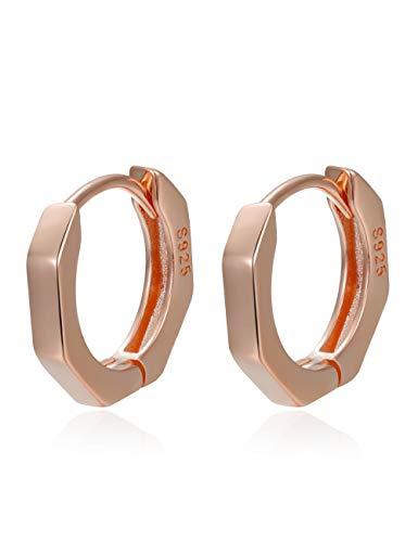 Huggy Hoop Earring 14K Rosegold Plated S925 Sterling Silver Geometric Huggy Hoop Earring for Women Mother