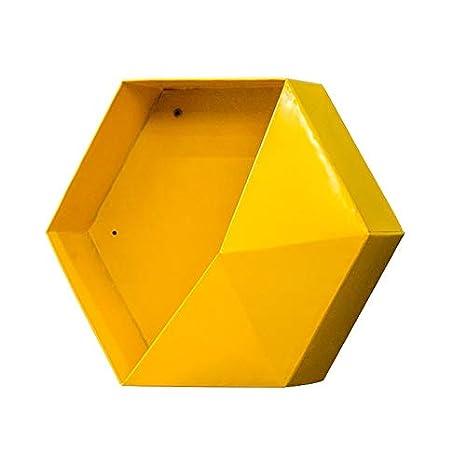 blanco Episkeyer Estante colgante de metal hexagonal Geometr/ía personalizada moderna Color Sala de estar Decorar la pared Soportes de almacenamiento varios Hierros Manualidades 1 pieza