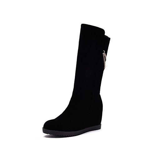 VogueZone009 Damen Blend-Materialien Rund Zehe Stiefel Schwarz-Kette