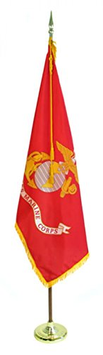 US Flag Factory 7' Marine Flag Indoor Set with Wood Pole - Complete Presentation Set by US Flag Factory