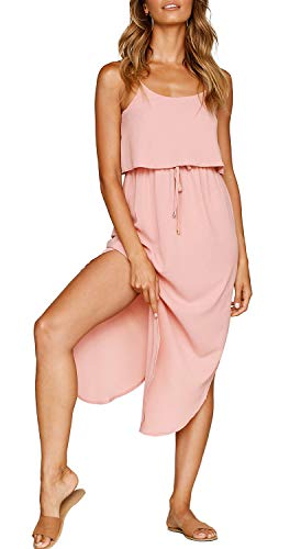 ZJCT Womens Dresses Adjustable Strappy Sleeveless Side Split Casual Summer Beach Midi Dress Pink L