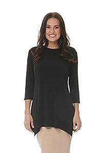 Esteez Women's Tunic Top – Sharkbite Hem- Loose Fitting - 3/4 Sleeve