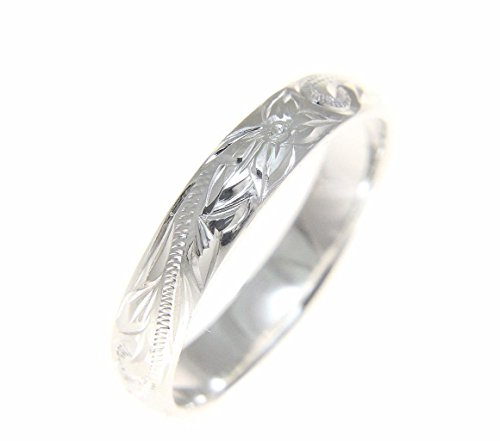 Sterling silver 925 Hawaiian plumeria scroll 4mm band ring size 6