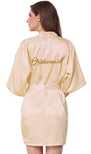 JOYTTON Women's Wedding Party Satin Kimono Robe with Gold Glitter Bridesmaid ()