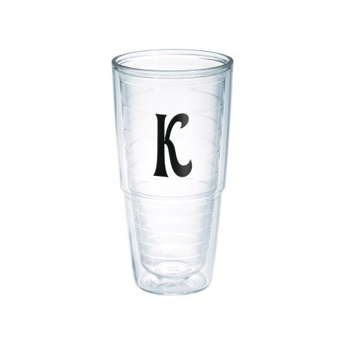 Tervis Tumbler with Decorative Black Twill Letter-K, - Tumbler With Letter K