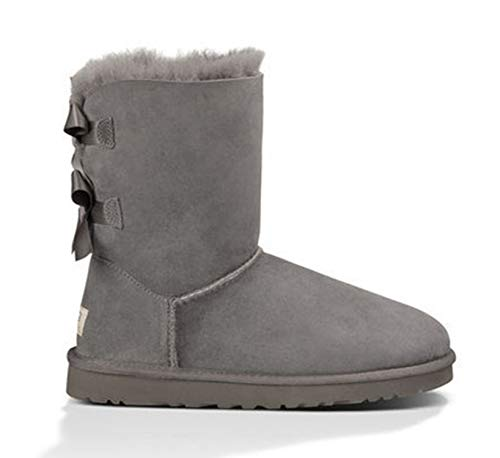 Women Snow Boots Waterproof Genuine Leather Winter Shoes Sheepskin Boots,2 Bow Grey,9 -