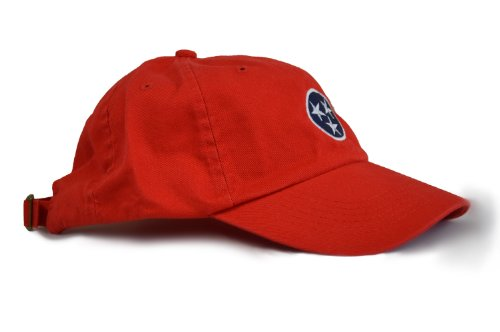Ann Arbor T-shirt Co. Tennessee State Flag Low Profile Baseball Hat | Tennesseean Golf Cap Red