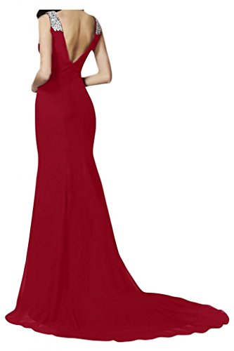 V-cuello de la Toscana de novia de Gasa de noche para mujer vestidos de bola de largo Prom vestido vestidos de fiesta borgoña