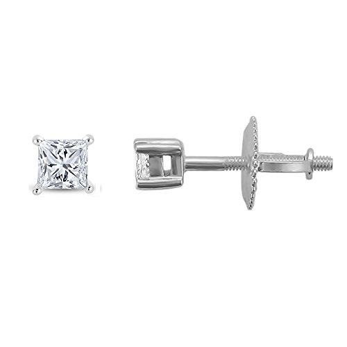 Solitaire Vs2 Earrings - 14k White Gold Princess-cut Solitaire Diamond Stud Earrings (1/4 cttw, I-J, VS2-SI1)