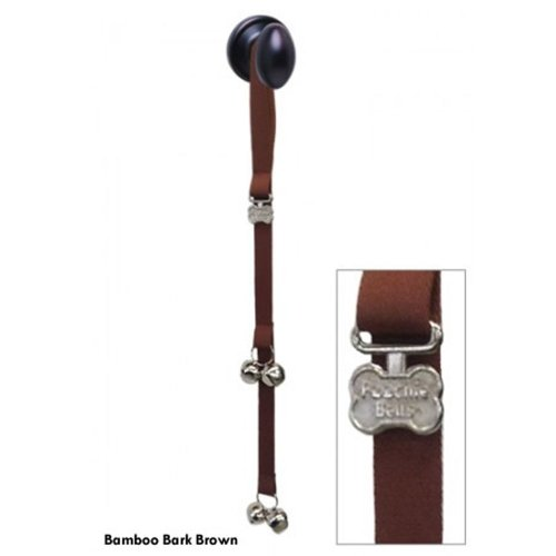 """PoochieBells Premium Edition """"Bark Brown EcoBamboo Webbing"""" Dog Potty Training Doorbell. Easily and effectively train your pooch in days to ring PoochieBells when its time to go out. Endorsed by Industry Professionals, Bell Training with PoochieBells is quick and easy. Simple training instructions included., My Pet Supplies"""