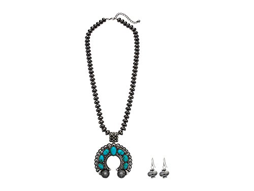 (M&F Western Women's Squash Blossom Sliver Bead Necklace/Earrings Set Silver/Turquoise One Size)