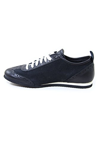 A-Style Canvas/Leather Sneakers Black 100% Made in Italy EU43